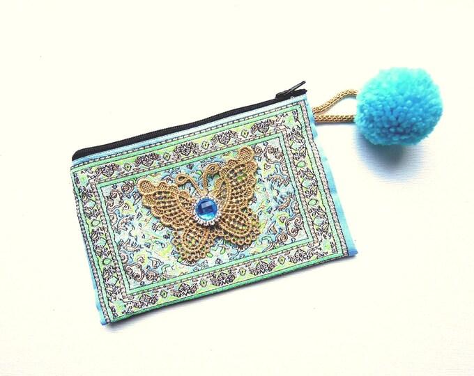 Blue Kilim coin purse with pom pom  Oriental rug zipper pouch  Ethnic Boho coin card pouch  Blue rug purse  Pom pom coin coin purse