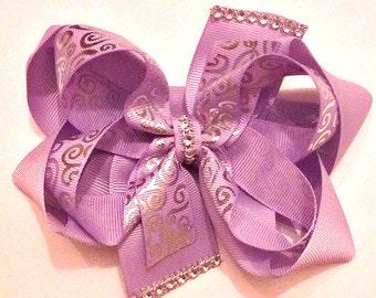 Elegant Hair Bow , Lavender Hair Bow , Pageant Hair Bow , Prom Hair Bow , Wedding Hair Bow , Photo Prop