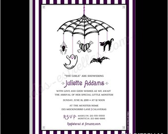 SPOOKY MOBILE / Gender Neutral Baby Shower Invitations or Birth Announcements