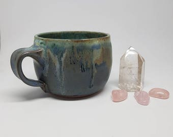 Mug, Blue Patina Shorty Mug, Handmade Stoneware ceramic coffee and tea cup
