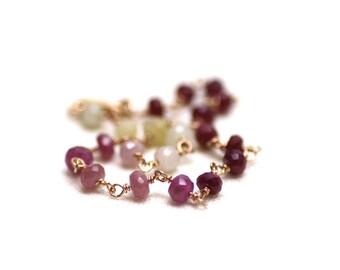 Ruby Gradient Wire Wrapped Bracelet in Rose Gold   Minimal, Natural Precious Stone Jewelry   Fine Artisan Jewelry Handmade by Azki