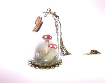 Fairy tale garden terrarium necklace, miniature fairy garden, toadstool necklace, monarch butterfly necklace, snail necklace, miniature art