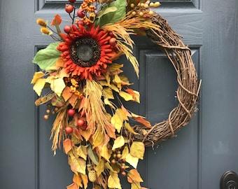 Fall Wreaths, Sunflower Wreaths, Fall Door Wreath, Wreaths for Fall, Front Door Wreath Fall, Fall Door Decor, Sunflower Decor, Housewarming