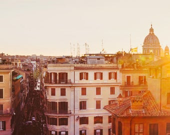 "Rome Italy Print, Spanish Steps, Rome Photography, Italy Wall Art, City View Skyline, Travel Photography, Italian Decor ""Vista"""