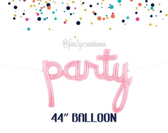 PARTY Script Balloon | Pink PARTY Foil Balloon 44"
