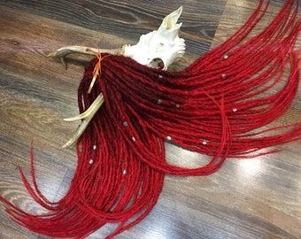 BLOOD ombre dreads x10 or FULL SET Single or Double Ended Synthetic Dreadlocks Hair Extensions Dreads Fall 20 inch