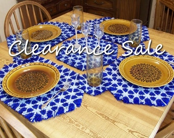 CLEARANCE SALE - Hexagon Lap Weave Placemat Set - 4 Placemats and Coasters  with Doily
