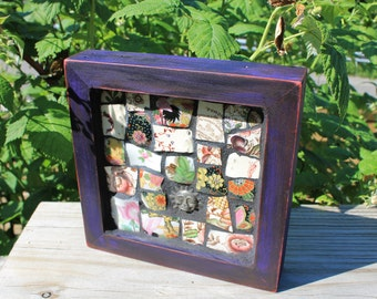 "TAPESTRY- Mosaic Art Piece 6""x6"" featuring a variety of rich colored Broken Dishes and a Deep Purple Frame"