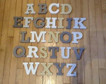 Wooden Alphabet Letters - Hand Painted Wooden Letters Set - 26 letters - 12cm high - RS font