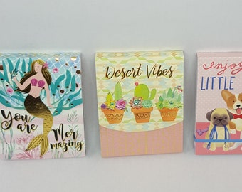 Set of 3 Mini Notepad Magnet Molly and Rex and More