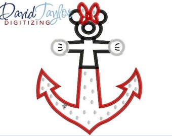 DCL Anchor Minnie - 4x4, 5x7 and 6x10 in 7 formats - Applique - Instant Download - David Taylor Digitizing