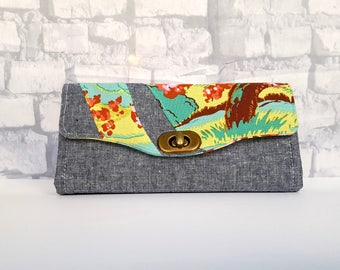 READY to SHIP Wallet - Handmade Clutch Wallet - Gorgeous Designer Fabric NCW - Necessary Clutch Wallet - Cherry Blossom Wallet