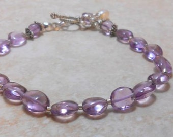 Lavender Dusk Amethyst Bracelet-Sterling Silver-Stackable-Amethyst Bracelet-Gemstone Jewelry
