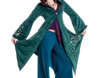 FAERY GODDESS COAT, long velvet boho jacket, hippie pixie goa psy trance fairy cosplay festival clothing, plus size xl xxl faerie fae jacket