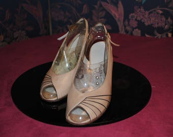 Beige Sandals - new-1960's - size: 34
