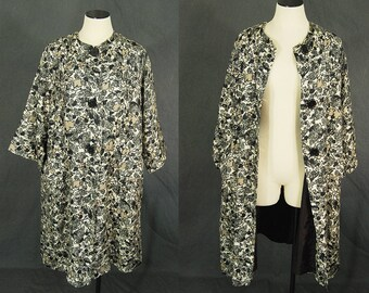 vintage 50s Swing Coat - 1950s Abstract Leaf Print Silk Swing Coat Silk Jacket Sz M L XL