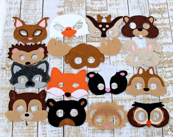 Woodland Animal Masks Kids Masks Kids Costumes Owl Mask Deer Mask Bear Mask Wolf Mask Halloween Masks Party Masks Fox Mask