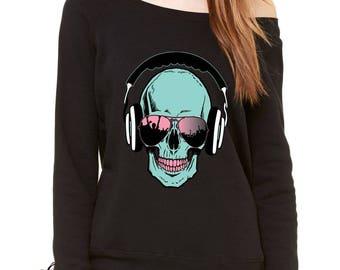 Skull DJ Earphones Slouchy Off Shoulder Oversized Sweatshirt
