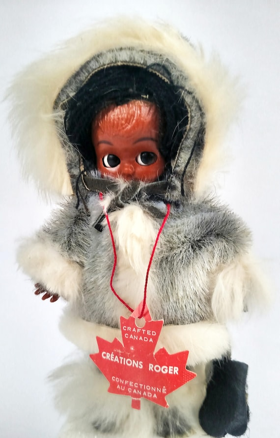 Vintage 1960's Sleepy Eyed Eskimo Baby Doll with Real Rabbit Fur Trimmed Outfit by Creations Roger Canada