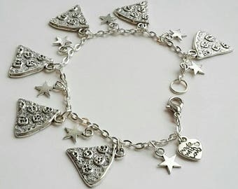 Pizza charm bracelet - quirky gift- fun jewellery