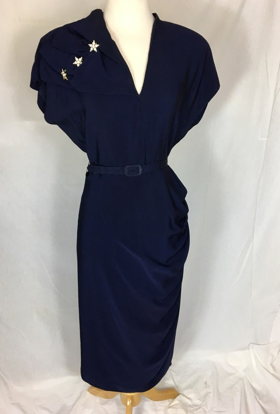 Vintage Late 40s Navy Blue Rayon Dress w Rhinestone Stars and Side Drape