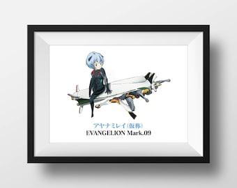 Evangelion 3.33 Photo Print Rei w/ Mark 09 & Asuka w/ EVA Unit 02