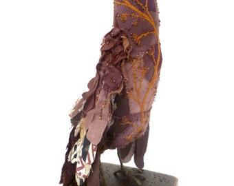 Brown bird soft sculpture, fiber art, home decor, textile art bird, hand stitched, bead embroidery, self standing collectible art, Britney