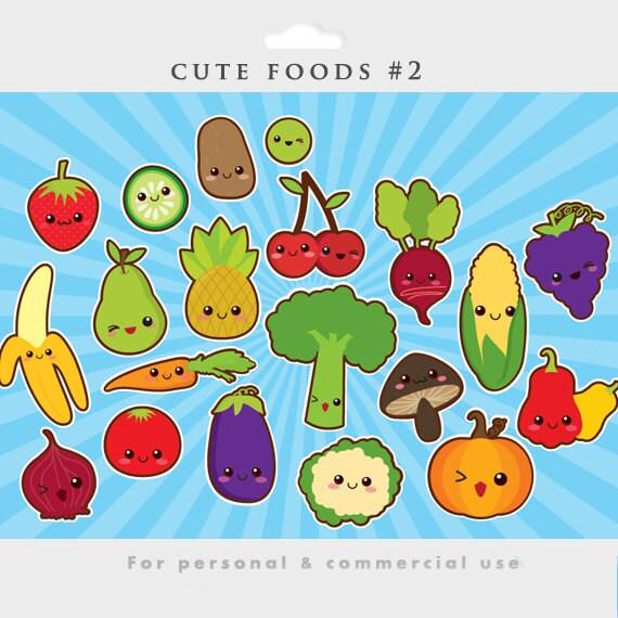 Kawaii clipart cute food clip art Japanese vegetables fruit