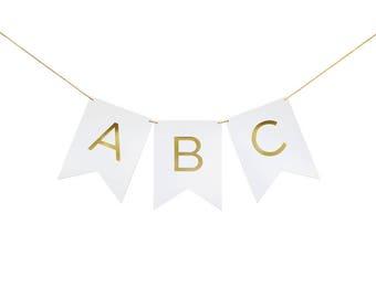 Gold Foil Stamped White Alphabet Custom Letter Banner