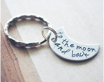 Crescent Moon Keychain - I Love You to the Moon and Back Keychain - Hand Stamped Crescent Moon Key Ring