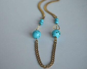 Beaded Necklace, Gold Brass, Gemstone Beads, Blue, Turquoise, Women Jewelry, Handmade