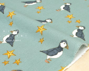 Japanese Fabric Puffin canvas - sage - 50cm