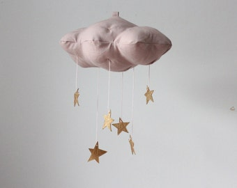 Dusty Pink Gold Star Cloud Mobile- modern fabric sculpture for nursery decor in linen and metallic faux leather- Free US Shipping