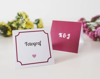 Wedding place cards / Burguny wedding / Pink seating card /  Wedding decorations / Purple name cards / Pink heart