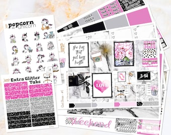 Girl Boss working office set / kit weekly stickers - Erin Condren Vertical Planner - marble pink black glam