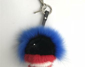 Real Mink Fox Rabbit fur Double-faced Black W White Face Monster Charm Bag Keychain Key ring Pandent-MagicFur Handmade