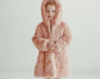 Pink fur coat for kids Fur jacket Long coat Winter Kids coat Baby coat Baby gift Kids clothing Girls coat Rabbit fur coat Girl's fur coat