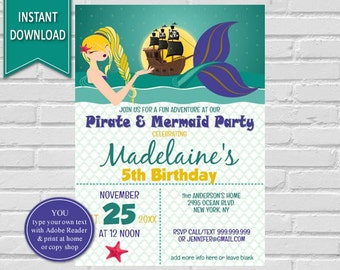 Mermaid Pirate Invitation | Pirate and Mermaid, Mermaid and Pirate Birthday, Under the Sea, Party, Mermaid Pirate Party, Mermaid or Pirate