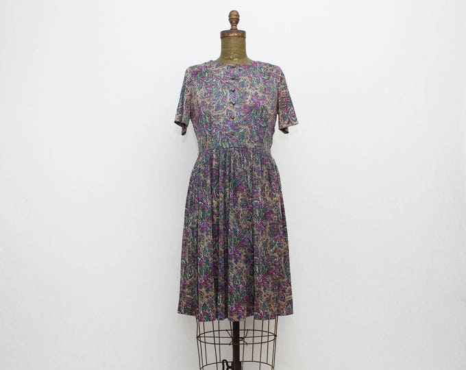50s Purple Paisley Day Dress - Size Medium Vintage 1950s Fit and Flare Day Dress by Korell