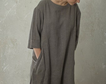 LINEN / WOOL tunic dress with drooped shoulder