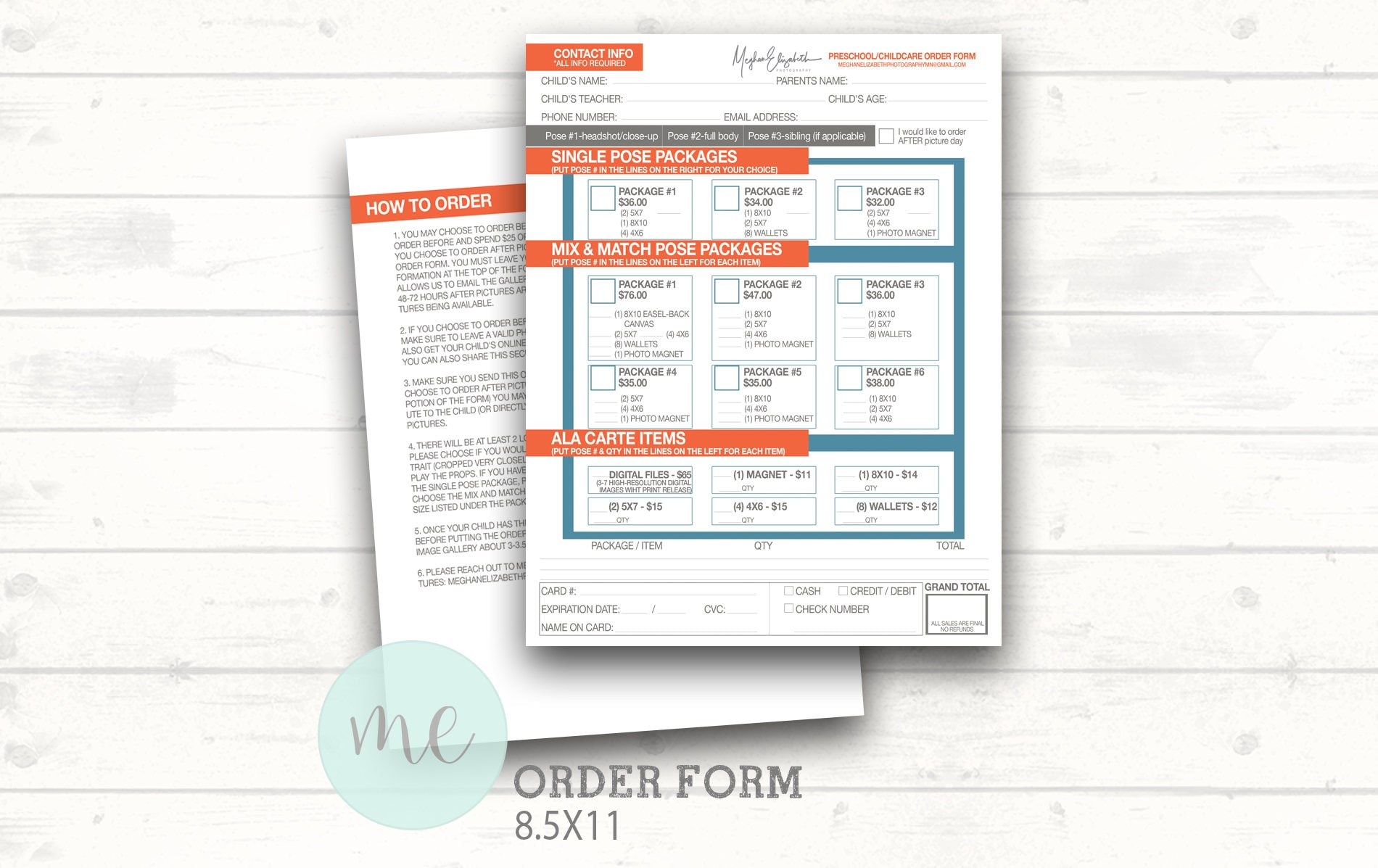 Photographer order form template picture day order form zoom pronofoot35fo Gallery
