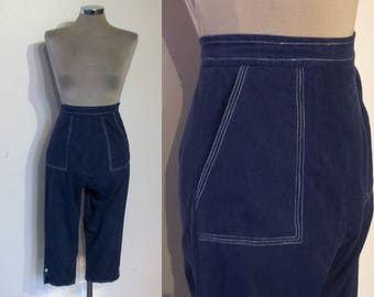 "Great 1950s navy cotton high waist side zip capri pants waist 24""  from Harrod's"