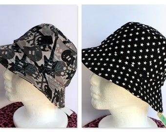 Black Skull Reversible Boys Hat - sizes 6 mths - 2 yrs - star, skeleton