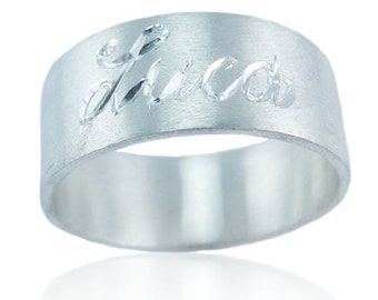 Big band ring in silver satin 925.000 with engraving