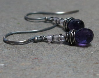 Purple Amethyst Earrings February Birthstone Oxidized Sterling Silver Wire Wrapped Gift for Her Gemstone Stack