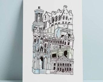 Edinburgh A4 Illustrated Stacking cityscape print