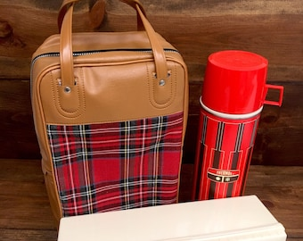 Vintage Camel and Red Plaid Thermos and Lunch Box Carrier, 1970's