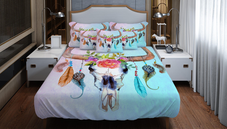 consolateur ou housse de couette boho chic taureau cr ne de. Black Bedroom Furniture Sets. Home Design Ideas