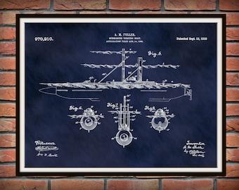 1910 Submarine Torpedo Boat Patent Print - Poster - Boat - Ship - Nautical - Naval Decor -  War Ship Art - Military Art