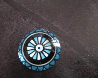 2 blue 20 mm geometric pattern round glass cabochons